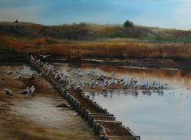 landscape with sea-birds by andrianart
