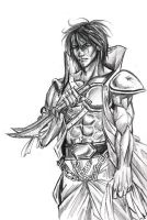 $1 Sketch - A Warrior's Glare by soul-sama