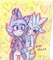 Silver, Blaze hugs~ by HollyBjeam