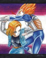 ANDROID #18 beats down Bejita / Vegeta by Acid-Flo