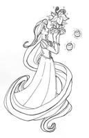 TANGLED princess - lineart by Juuchan17