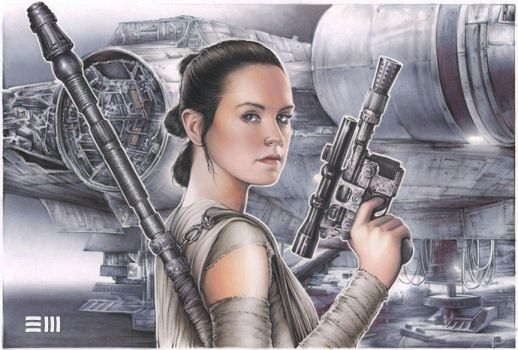 Rey with Han Solo's DL-44 Blaster by Erik-Maell