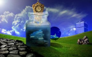 Grandeur of an Aquified Vision in a Bottle by jesus-at-art