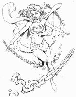 Randy Green Supergirl Inking by SupermanOfToday