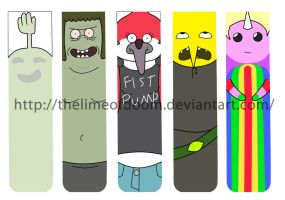 Regular show and Adventure time Bookmarks by thelimeofdoom