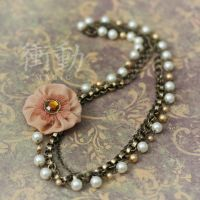 Pearl and Peach Rosette Necklace by shoudoumagic