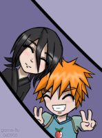 Bleach - Chibis Rukia + Ichigo by game-flu