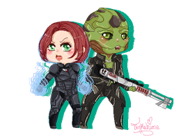 Shep and Thane Pixel Chibi by Tsukahime