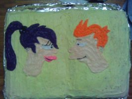 Fry and Leela Cake by DarbyLucy