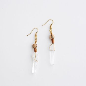 Crystal Quartz and Mala Bead Earrings by SquirrelzUpcycling