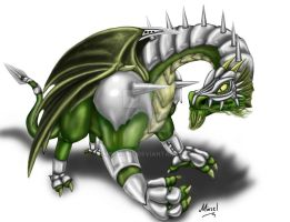 Silver Armoured Green Dragon by Mingrune