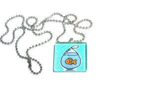 Sugar Glitter Hand Drawn Orange Fish Glass Pendant by PinkChocolate14