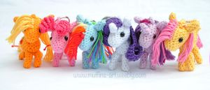 mini ponies mane 6 keychains by TheArtOfMuffin