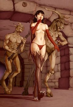 Diablo Succubus and Goatman by Odinrules