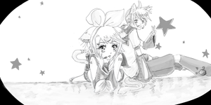 Rin and Len bw by LaFoxtriel