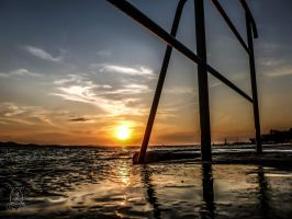 sunset thru bars by Esentia-art