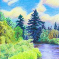 Pines by River by robertsloan2