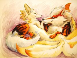 Ninetails and Arcanine by caroro