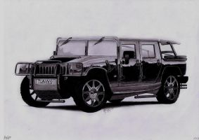 Hummer H1 pencil drawing by AjoslaF