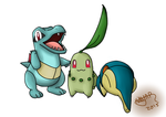 Totodile, Chikorita. and Cyndaquil by RatedRawwr