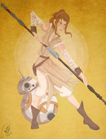 Rey and BB-8 by cartoonation