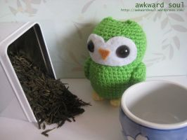 - Green Owl Amigurumi with green tea - by awkwardsoul