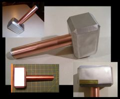Aluminum and Copper Thor's Hammer by creativeetching