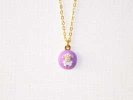Alone Lamb (lilac) polymer clay necklace by Melarin