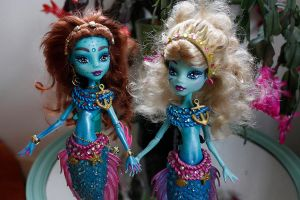 Monster high mermaids ooak custom dolls by clefchan