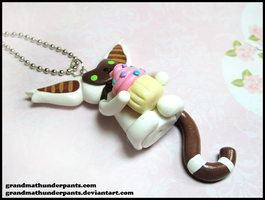 Momo + Cupcake Necklace by GrandmaThunderpants