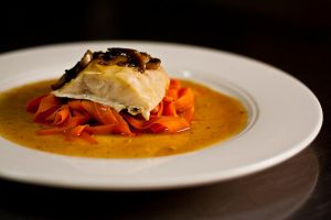 Tea Smoked Bass with Shaved Carrots by TRE2Photo-n-Design