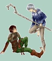 Hiccup and Jack Frost by BirdChild