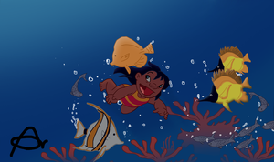 Lilo playing with fishies by Roo-Pooh