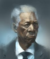 Morgan freeman head study by ignilibrium