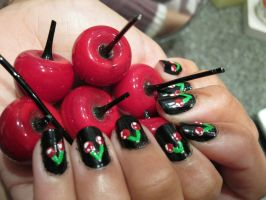 Cherry Nails by kirarachan