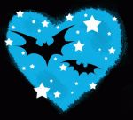 Blue heart and bats by hel-dore