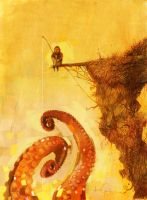 The fisherman of giant octopus by javierGpacheco