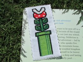 Mario Piranha Pipe Cross-Stitch Bookmark by DaydreamQueenMisha