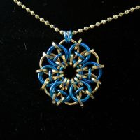 Gold and Royal Blue Celtic Star Pendant by Ichi-Black