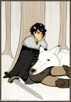 Jon and Ghost by Grouillote-oh