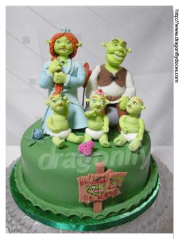 Shrek and Family Cake by dragonflydoces