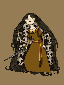 Baba Yaga and the skulls of her enemies by secondlina