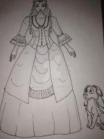Christine Daae and her dog sidekick wip1 by Selinelle
