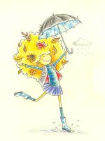 Fall girl with umbrella by jkBunny