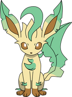 Leafeon Sitting PNG by ProteusIII