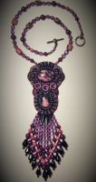 Bead embroidery necklace 23 by Priscillascreations