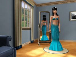 Sims 3 - Human Kitty Katswell in mermaid costume 1 by Magic-Kristina-KW