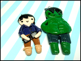 Bruce + Hulk Charms by GrandmaThunderpants