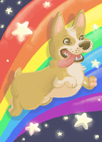 The Rainbow Dog of the Cosmos by BrotherlyFluff