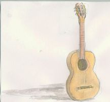guitar in watercolor -- by Zerkatres